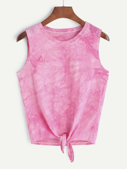 Pink Tie Dye Knotted Hem Tank Top