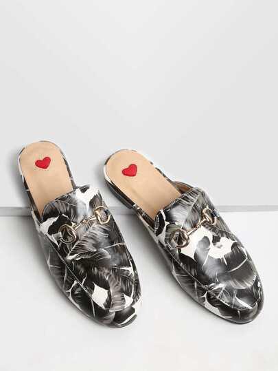 Black Leaf Stampa Mocassino Pantofole