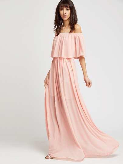 l'épaule longue robe à volants - rose