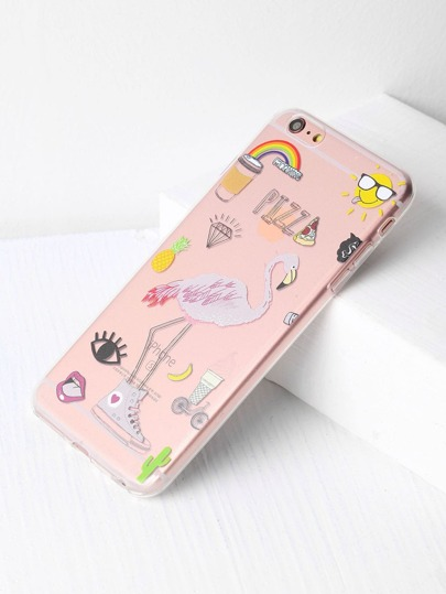 Funda para iPhone 6 Plus/6s Plus transparente con estampado de flamingo
