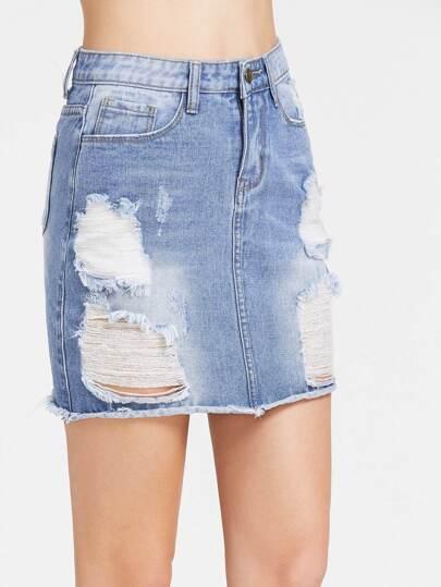 Gonna effetto di lavaggio di jeans sfilacciati