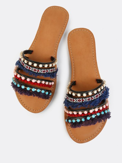 Tribal Pop Bejewelled Slides BLACK