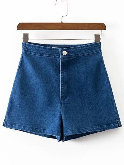 Blu allentato Denim Shorts
