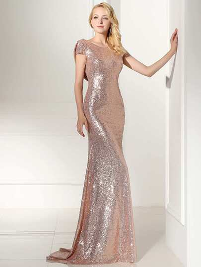 Rose Gold Sequin Open Back Maxi Bridesmaid Dress
