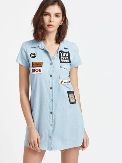 Blue Embroidered Patch Raw Hem Denim Shirt Dress