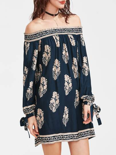 Navy Vintage Print Off The Shoulder Tie Sleeve Dress