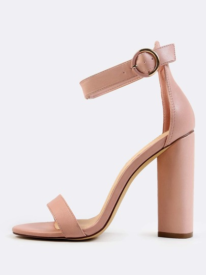 Basic Ankle Strap Triangle Heels DUSTY PINK