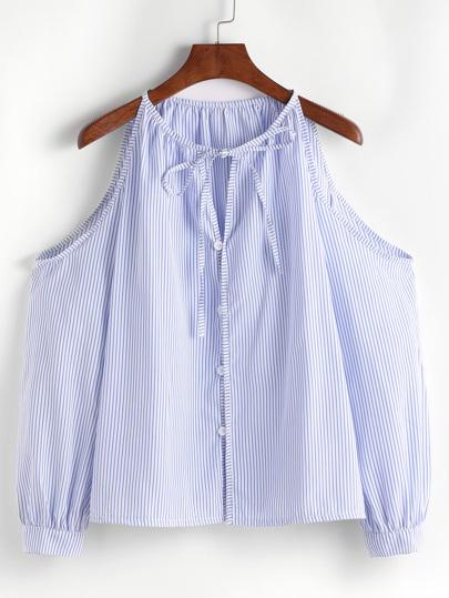 Blaue vertikale gestreifte kalte Schulter-Riegel-Knopf-Oberseite