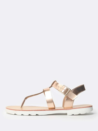 Double Strap Thong Sling Back Sandal ROSE GOLD