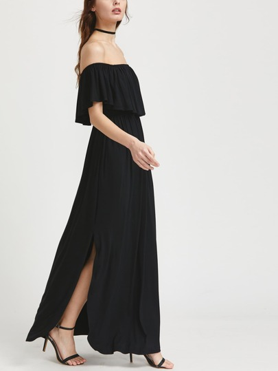 Frill Off Shoulder Side Slit Dress
