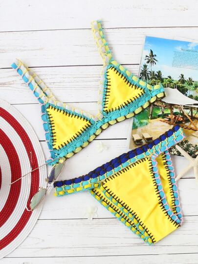 Giallo Crochet Trim Triangle Bikini