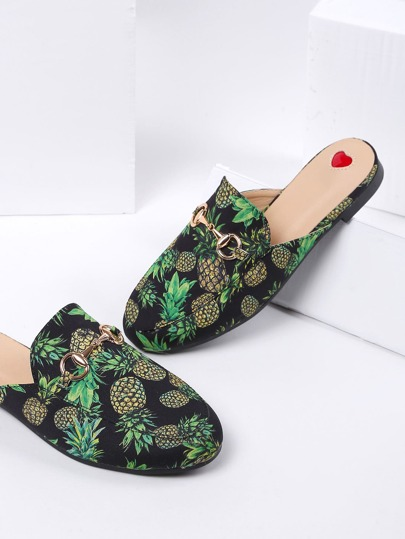Black Pineapple Print Flat Slippers