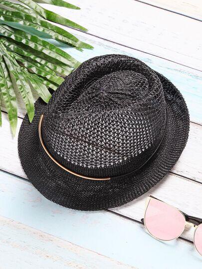 Black Vintage Mesh Wide Brim Hat