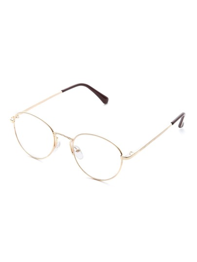Gold Frame Clear Lens Retro Glasses