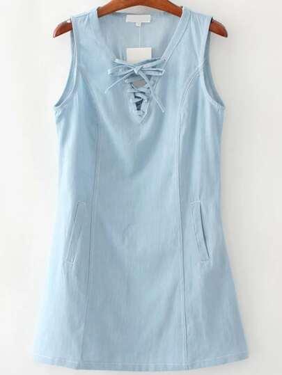 Blue Eyelet Lace Up V Neck Denim Dress