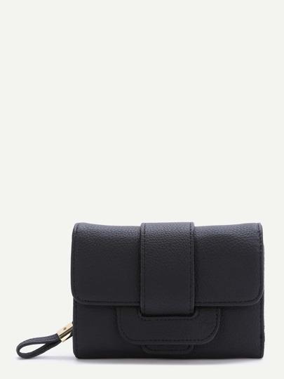 Black Fold PU Clutch Wallet