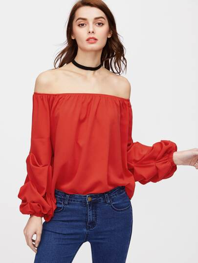 Off Shoulder Ruched Lantern Sleeve Top
