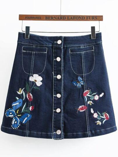 Falda con bordado con una botonadura línea A en denim - azul