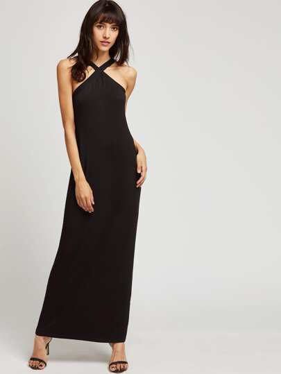Cross Over Neck Full Length Jersey Dress