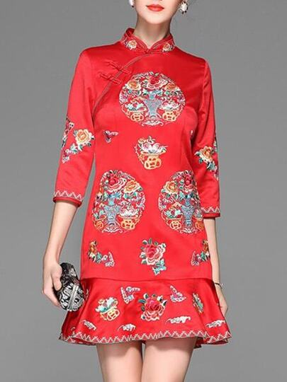 Red Flowers Embroidered Frill Dress
