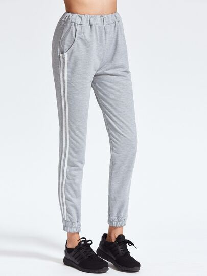 Heather Grey Striped Side Elastic Waist Pants