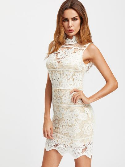 Lace Overlay Exposed Zip Back Dress