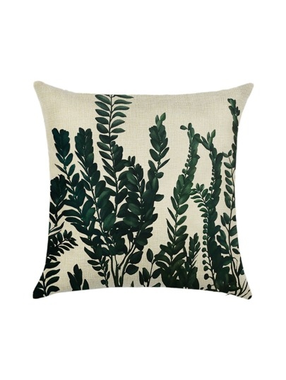 White Plant Print Linen Pillowcase Cover
