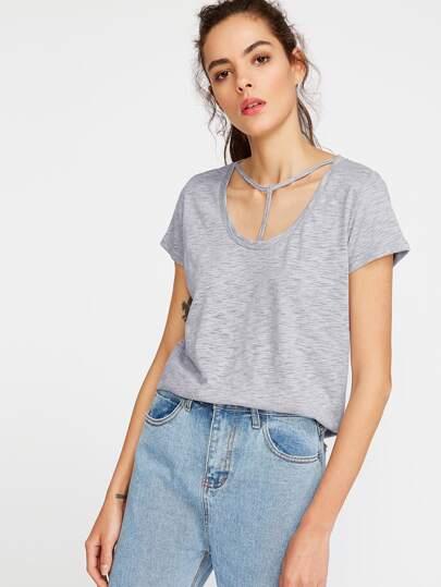 Camiseta con tira en T con cuello redondo - gris