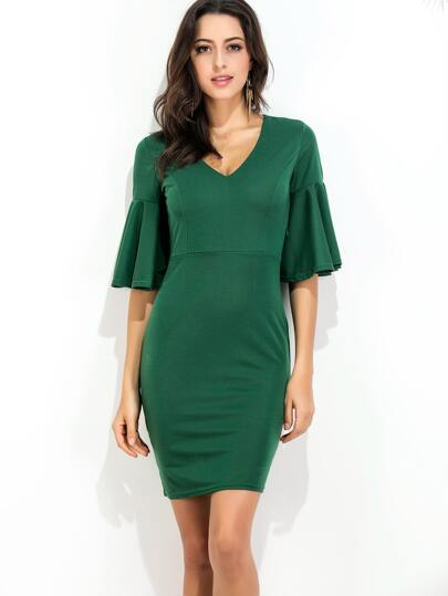 Dark Green V Neck Bell Sleeve Sheath Dress