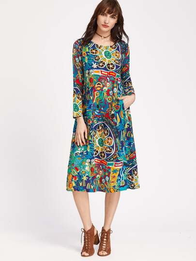 Graffiti Print Pockets Swing Dress