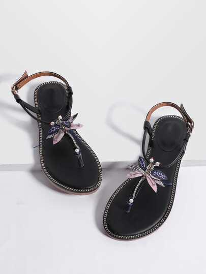 Sandalias planas con detalle de mariposa - negro