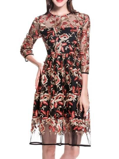 Black Sheer Gauze Embroidered Dress