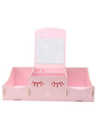 Pink Happy Smile Cute DIY Makeup Storage