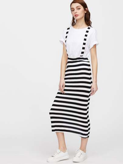 Back And White Striped Overall Dress