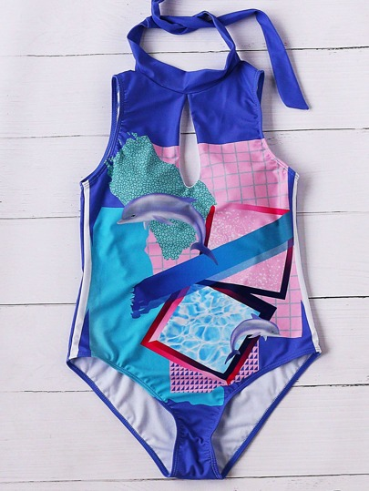 Multicolor Dolphin Print Keyhole One-piece Swimwear