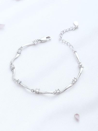 Silver Rhinestone Detail Delicate Bracelet