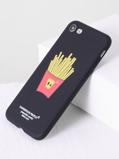 Nero French Fries iPhone design 7 Caso