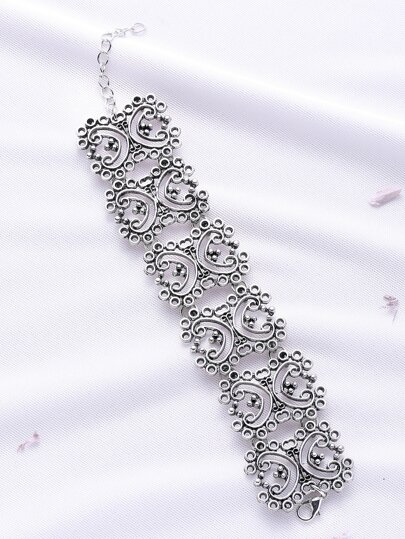 Silver Flower Hollow Bracciale Vintage Out