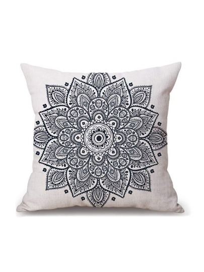 White Vintage Flower Print Pillowcase Cover