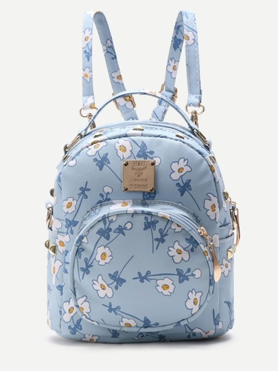 Blue Flower Print Front Pocket PU Backpack