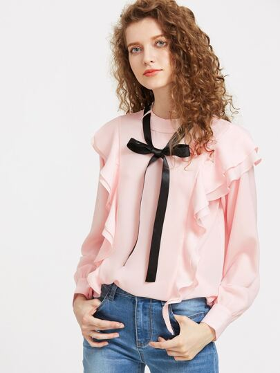 Contrast Tie Neck Cuffed Sleeve Frill Top