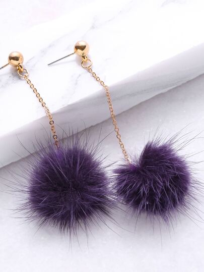 Purple Pom Pom Drop Earrings