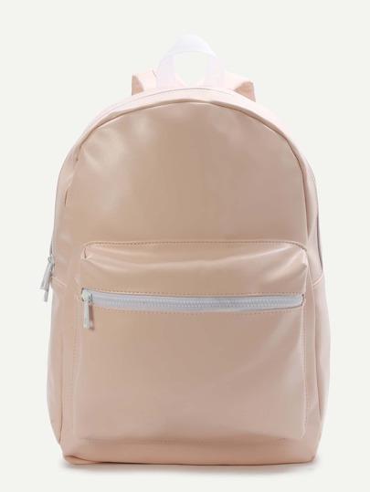 Light Pink Front Pocket PU Backpack