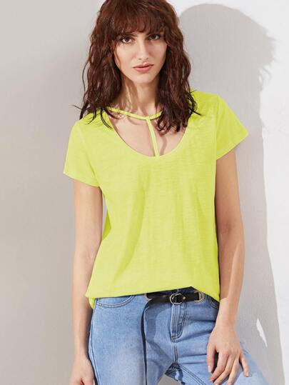 Yellow T Strap Scoop Neck Slub T-shirt