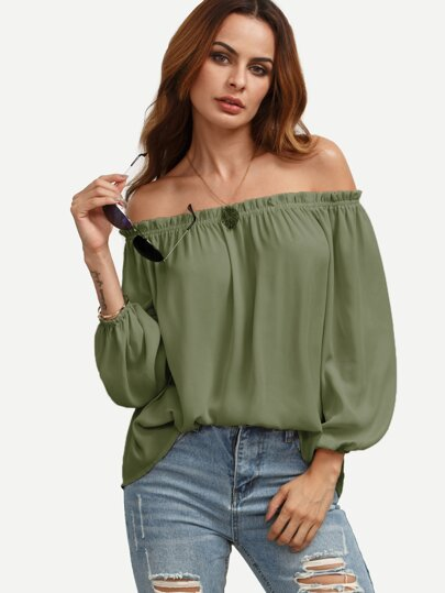 Ruffle Off Shoulder Lantern Sleeve Top