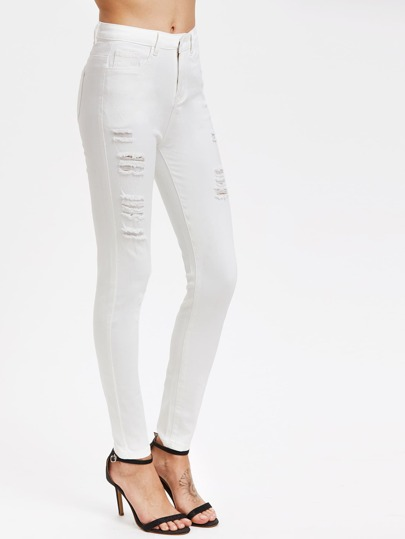 SHEIN                                Middle Rise Distressed Skinny Jeans