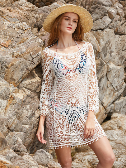 Hollow Out Crochet Open Back Tassel Tie Cover Up