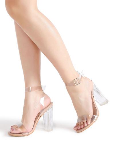 Sandalias de tacón grueso transparente con correa al tobillo