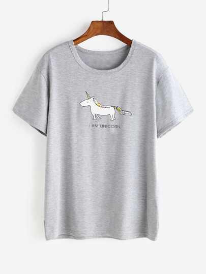 T-shirt con stampa di cartoon , grigio