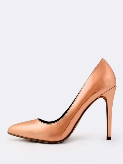 Shiny Metallic Point Toe Heels ROSE GOLD